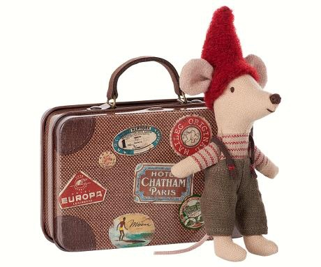 playtime Maileg christmas mouse in travel suitcase