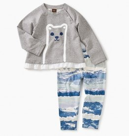 little girl tea collection furry friend baby outfit