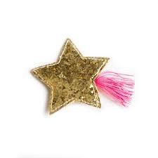 hair hello shiso glitter star clip, pink