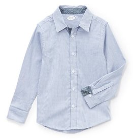girl denim stripe with colorful dot trim shirt