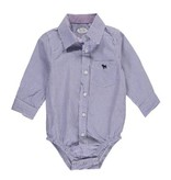 baby denim bodysuit with colorful dot trim