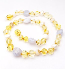 jewelry momma goose amber & pearl teething necklace