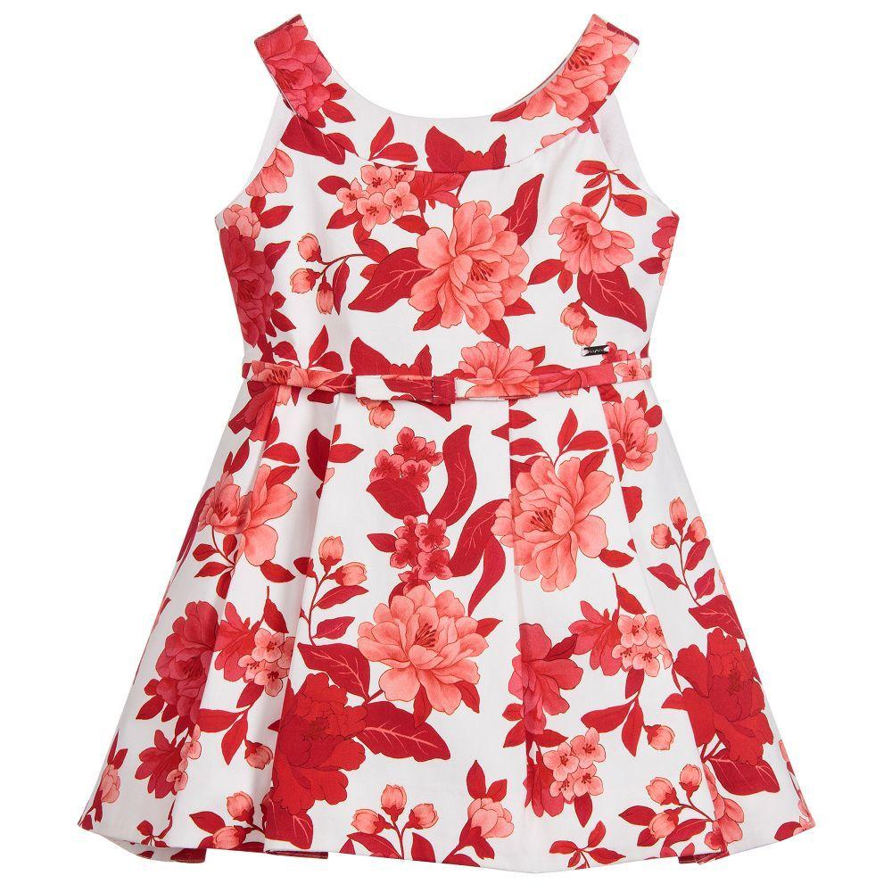 girl mayoral belted floral dress