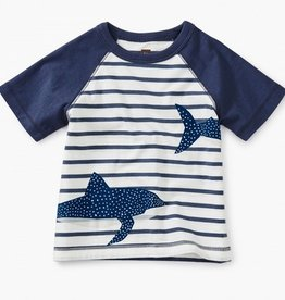 little boy tea collection shark raglan baby tee
