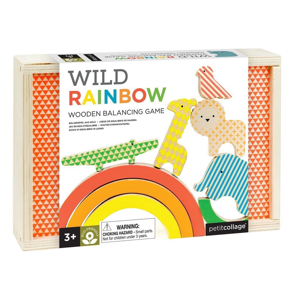playtime wild rainbow wooden stacking toy, 3+