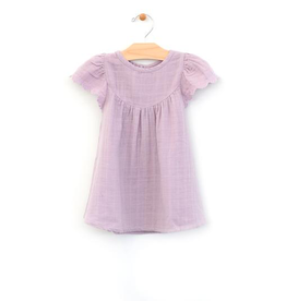 girl city mouse organic lace sleeve muslin dress