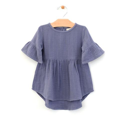 girl city mouse organic bell sleeve muslin dress