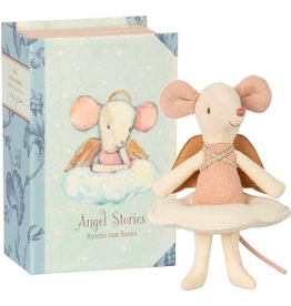 playtime Maileg angel mouse, big sister in book