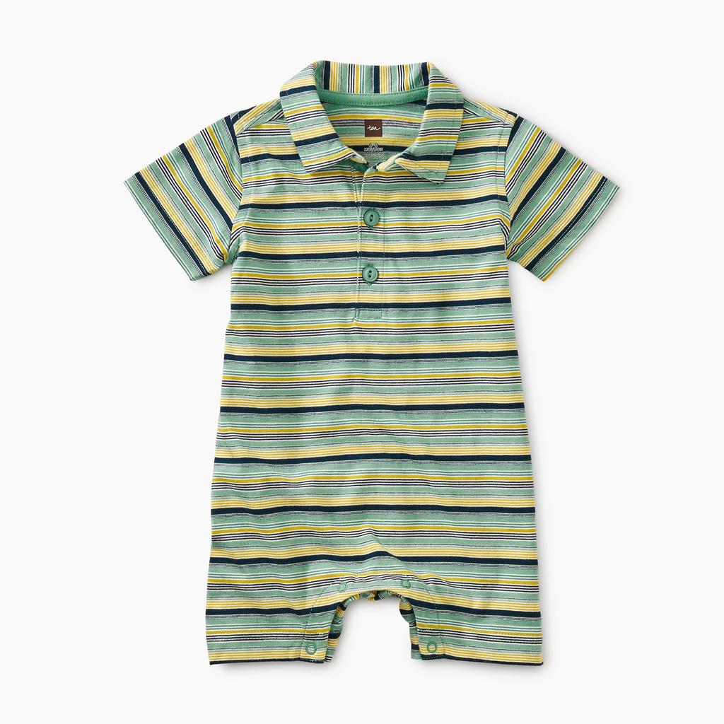 little boy tea collection striped polo romper