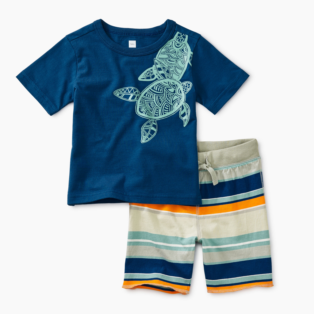 little boy tea collection sea turtle set