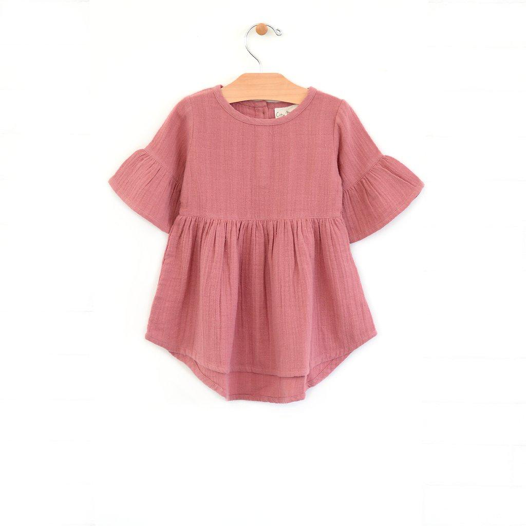 girl city mouse organic bell sleeve muslin dress