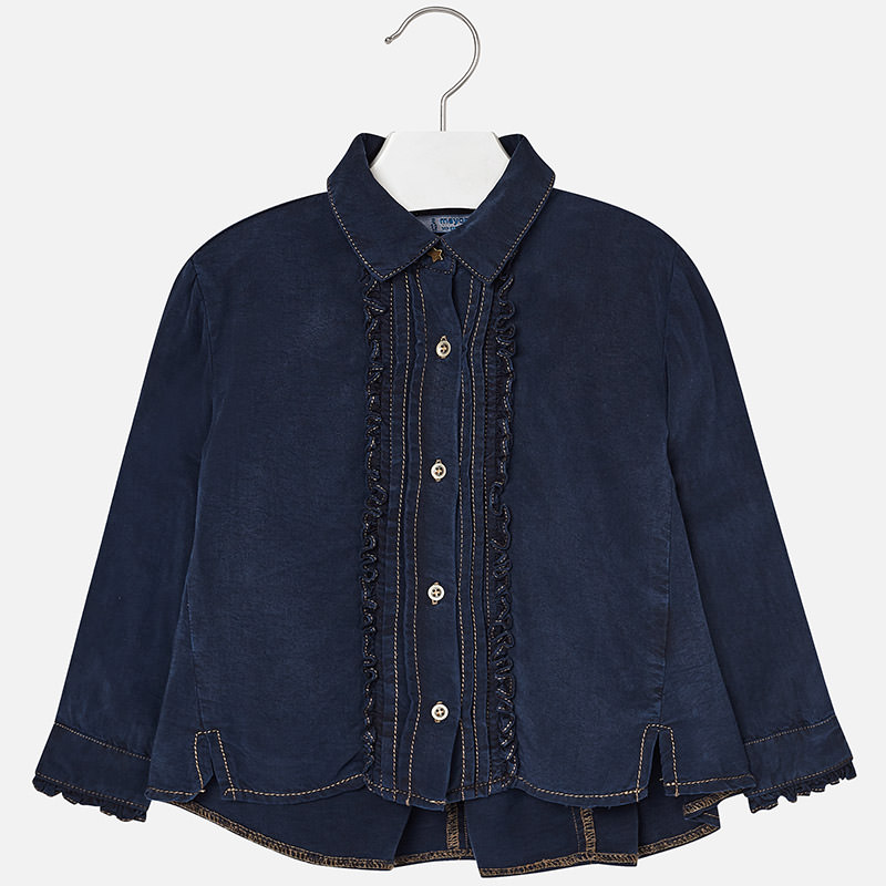 girl **sale** mayoral denim ruffled blouse