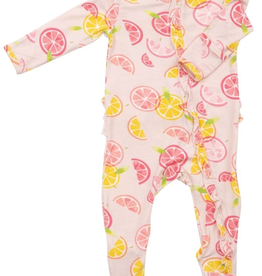 little girl angel dear ruffle zipper footie