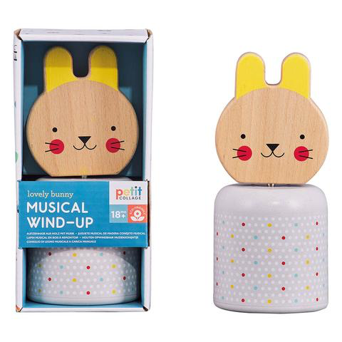 playtime wooden wind-up musical bunny