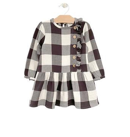 girl city mouse drop waist button dress