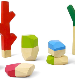 playtime sticks and stones, wooden stacking set, 8 pcs