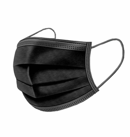 personal care set of 50 black disposable face masks, adult