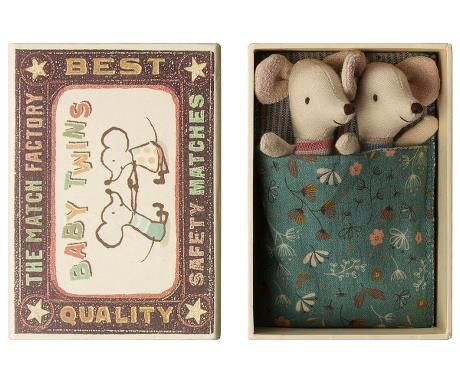 playtime maileg baby mice, twins in matchbox