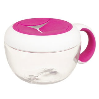 feeding oxo tot flippy snack cup with travel cover, pink