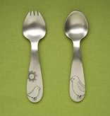 feeding pewter baby spork and spoon set