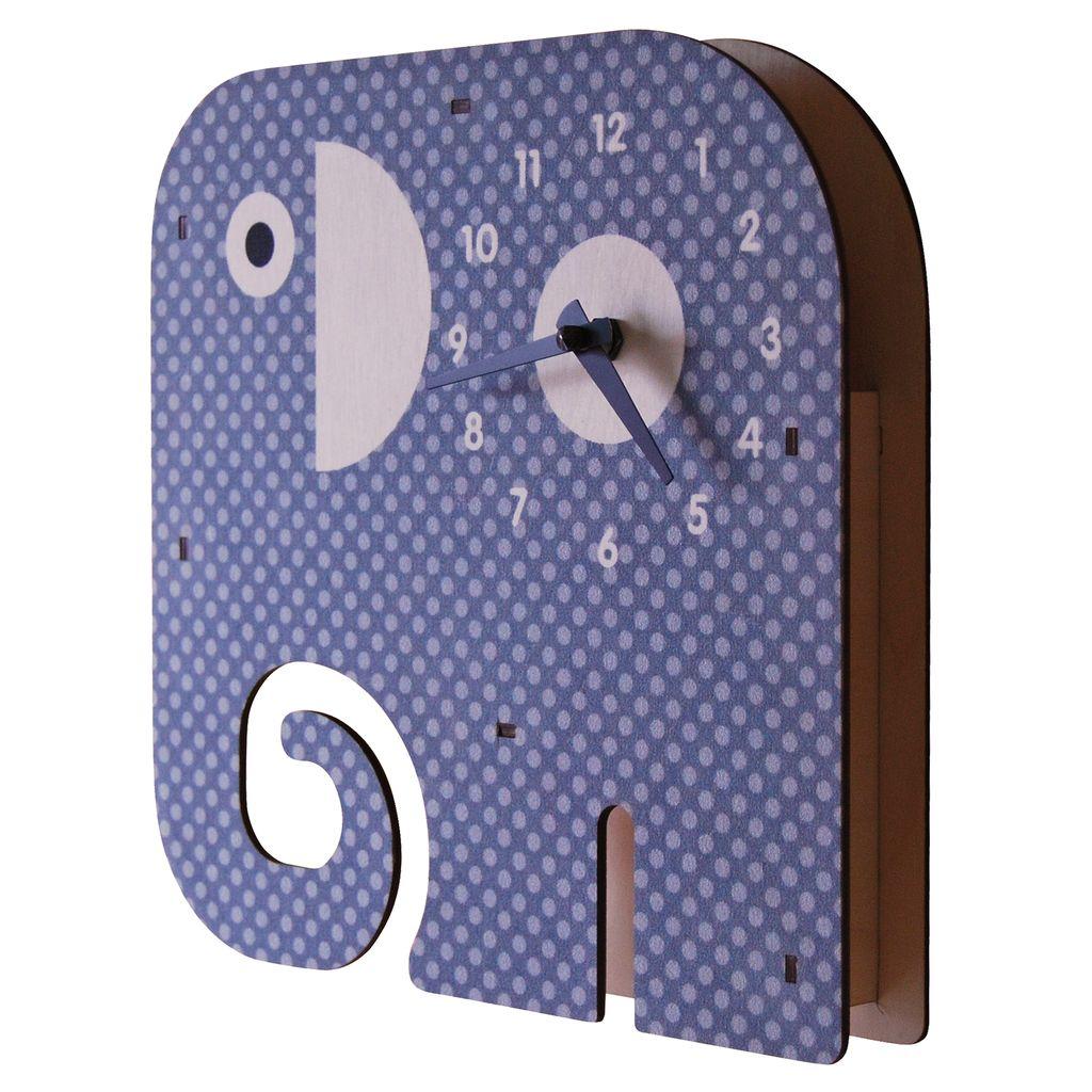 decor modern moose elephant clock, gray
