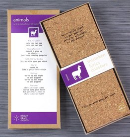 functional accessory mistaken lyrics coaster set (made in austin), animals