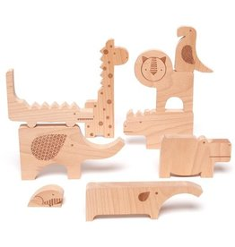 playtime petit collage wooden safari playset