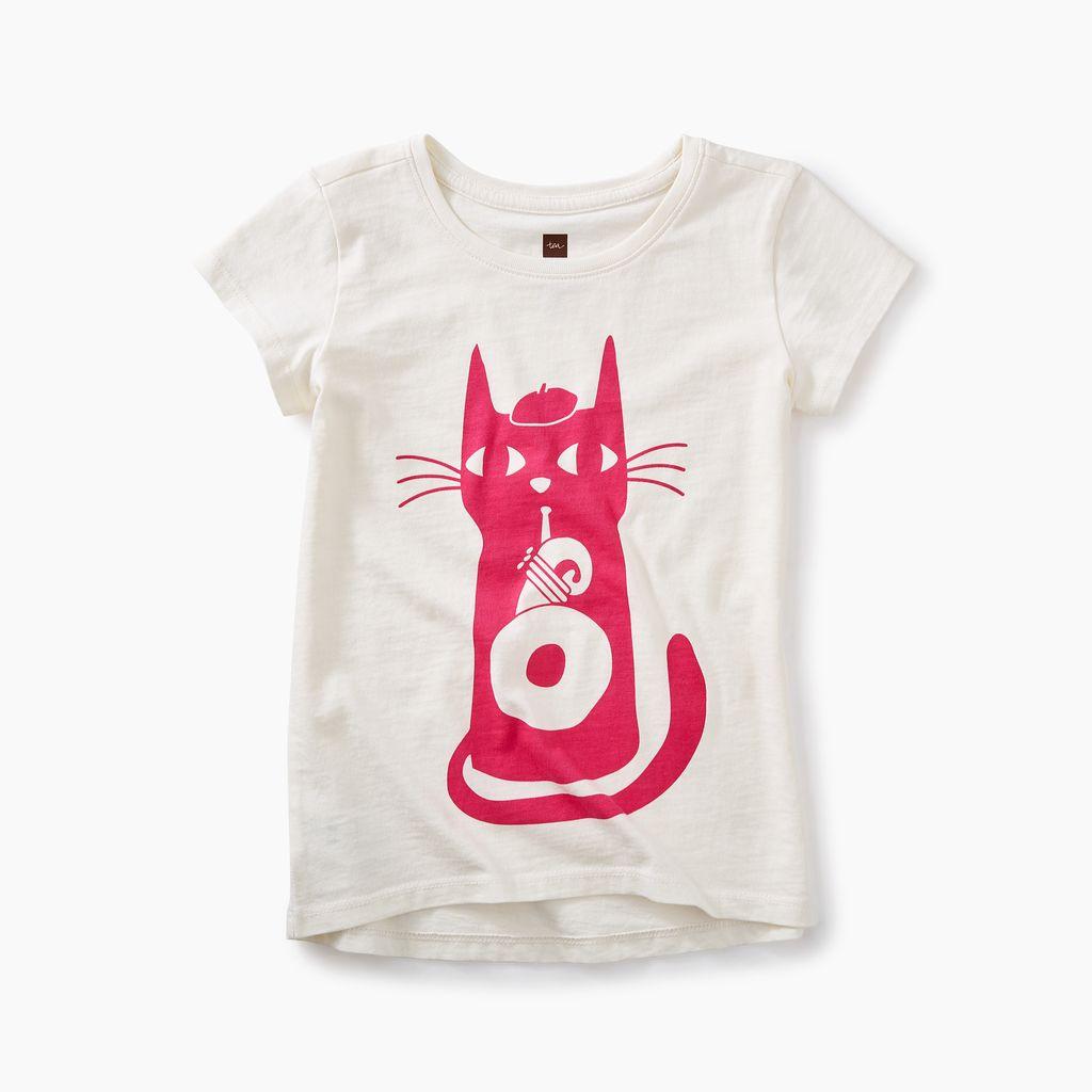 girl jazz cat graphic tee