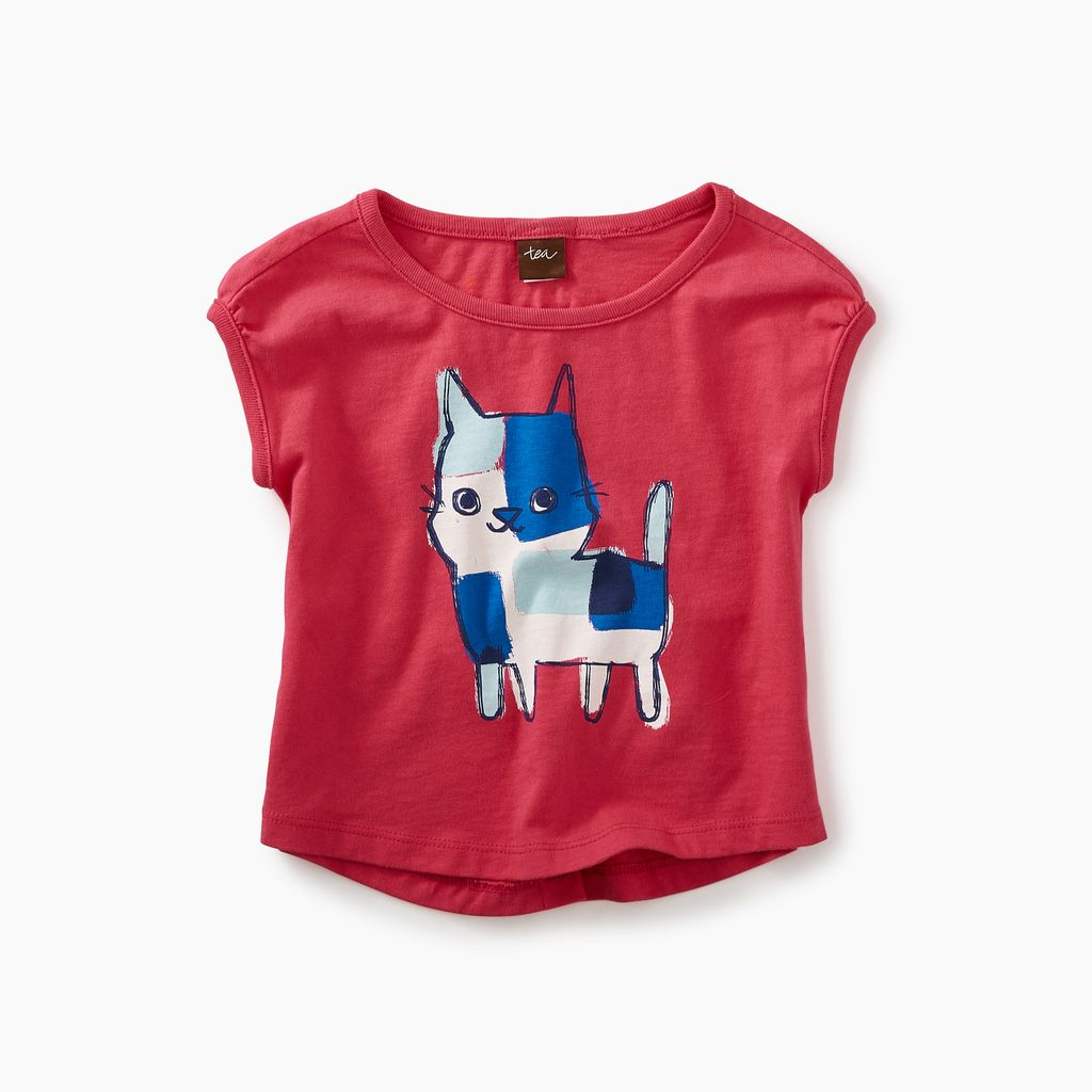 little girl calico kitten graphic baby tee