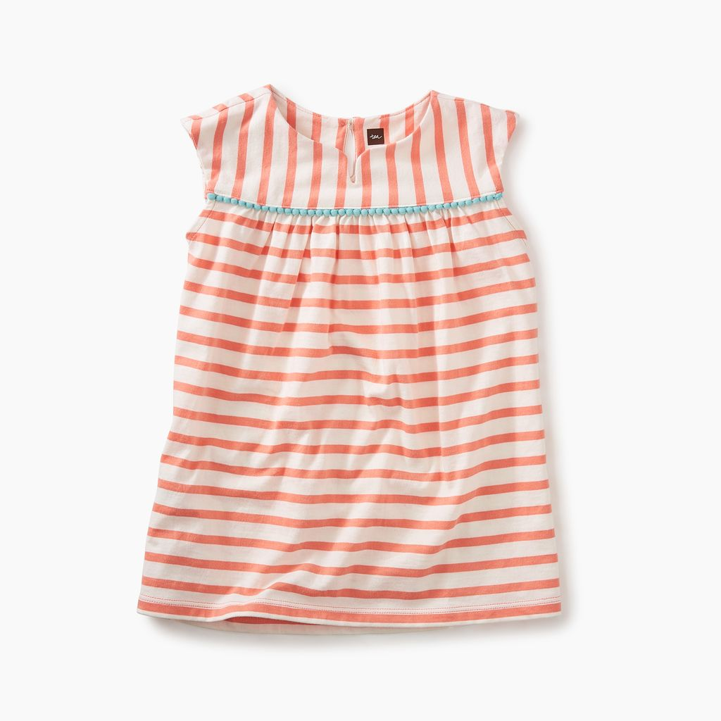 little girl pom pom trimmed dress