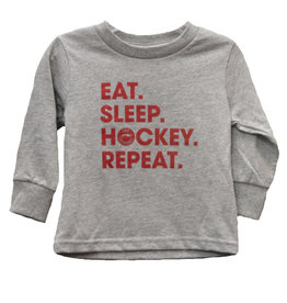 Eat, Sleep, Hockey Long Sleeve Toddler Tee