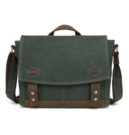 DAVAN WAXED CANVAS SHOULDER BAG LEATHER TRIM