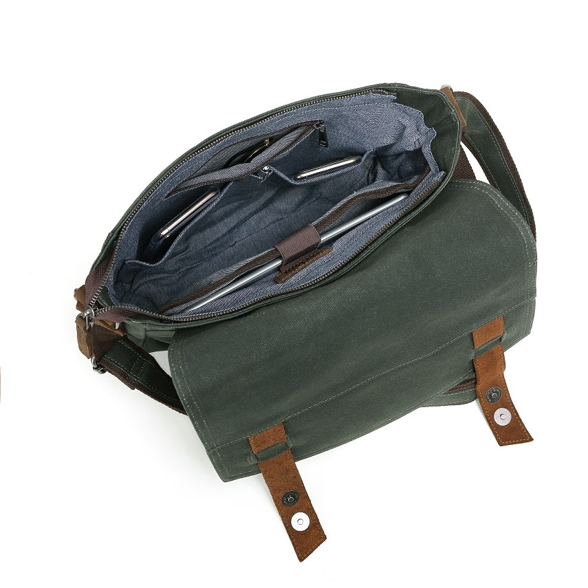 DAVAN WAXED CANVAS SHOULDER BAG LEATHER TRIM