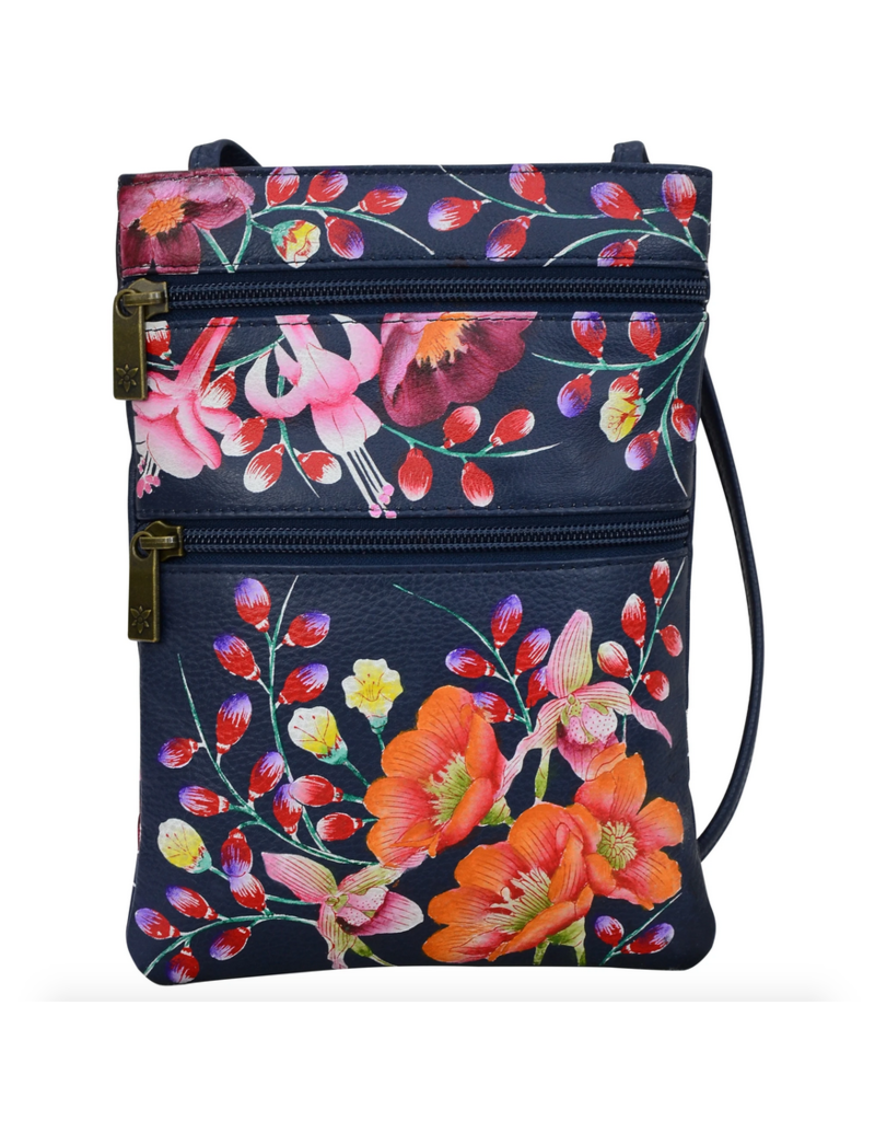 Anuschka PAINTED MINI DOUBLE ZIP CROSSBODY