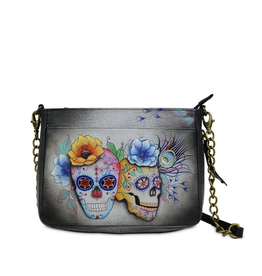 Anuschka ANUSH Calaveras/skull Chain/Handle Purse