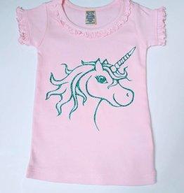 Ruffled Neck Top w/Unicorn