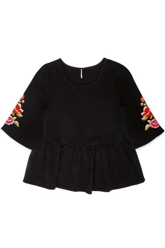 Cutie Patootie Boho Top w/Floral Embroidery