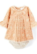 Yo Baby Pleated Peach Shift Dress With Lace Details & Diaper Cover