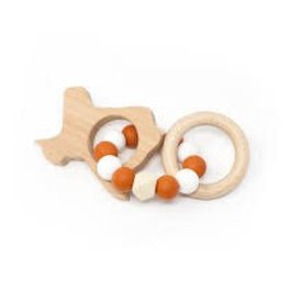 Three Hearts Teething Rattle Wood & Silicone