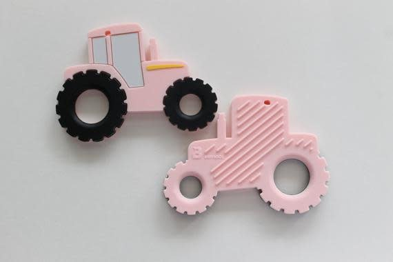Three Hearts Tractor Silicone Teethers