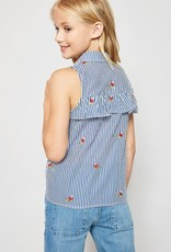 Hayden Embroidered Striped Tie-Front Button Down Top