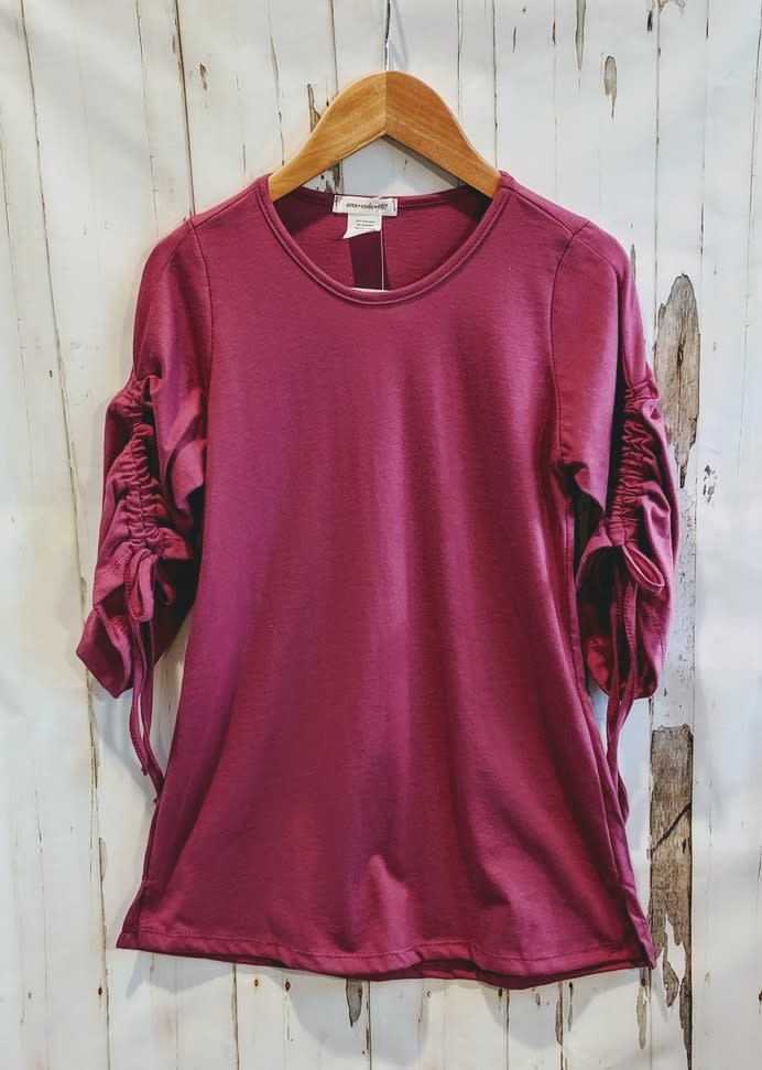Area Code 407 Tween Rouche Sleeve Fall Top