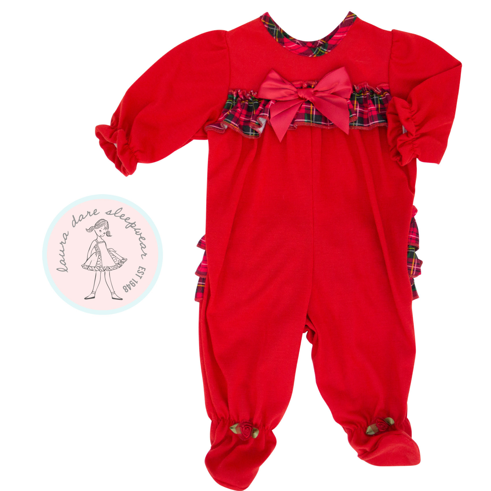 Laura Dare Baby Girl Frilly Back Holiday PJ's