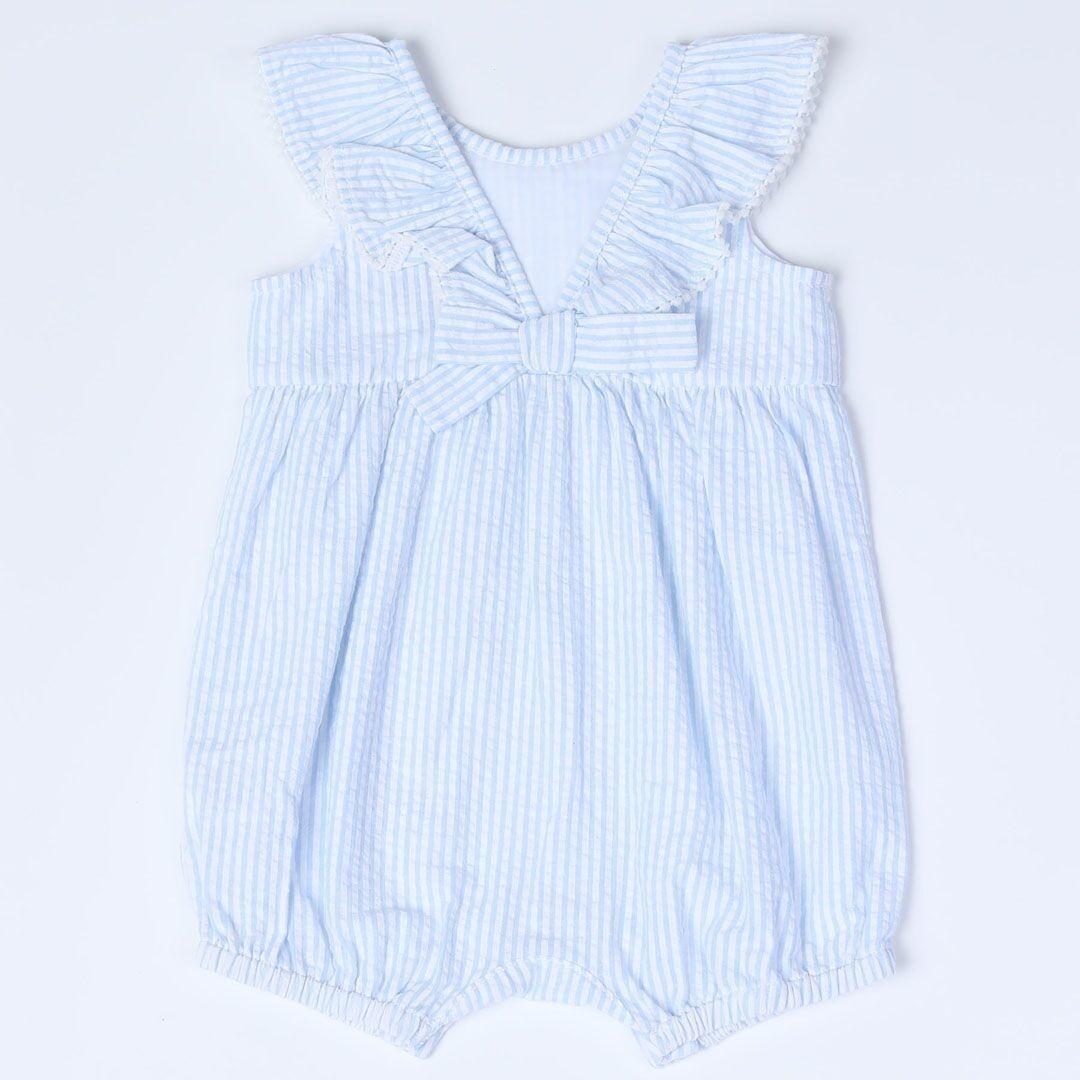 Kapital K Baby Girl Sky Striped Ruffled Romper