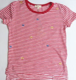 Striped Red Tshirt w/ Flowers