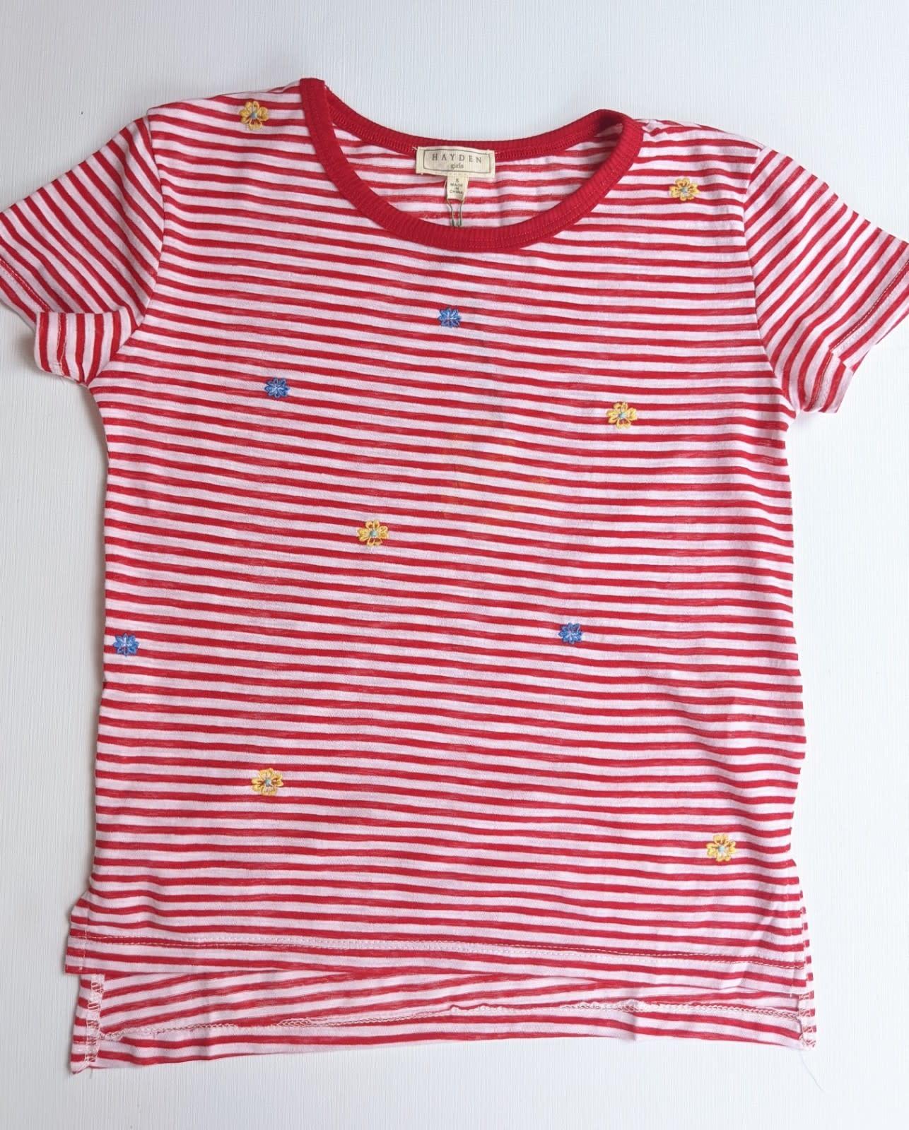 Striped Red Tshirt w/ Flowers