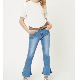 Hayden Girls Cropped Frill Flare Jeans