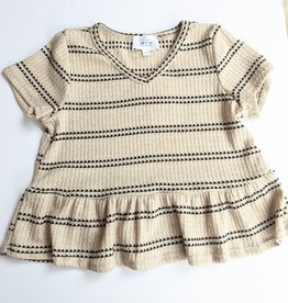 Sadie & Sage Tween Ruffled Oatmeal w/Black Stripe Top