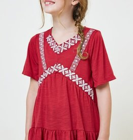 Hayden Girls Tween Embroidered Ruffled Hem Tunic