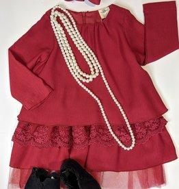 ML Fashions Tiered Lace/Ruffle Dress
